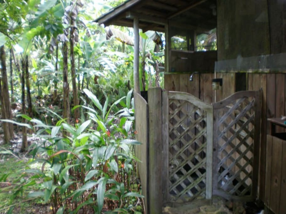 Outdoor hot shower has a privacy screen