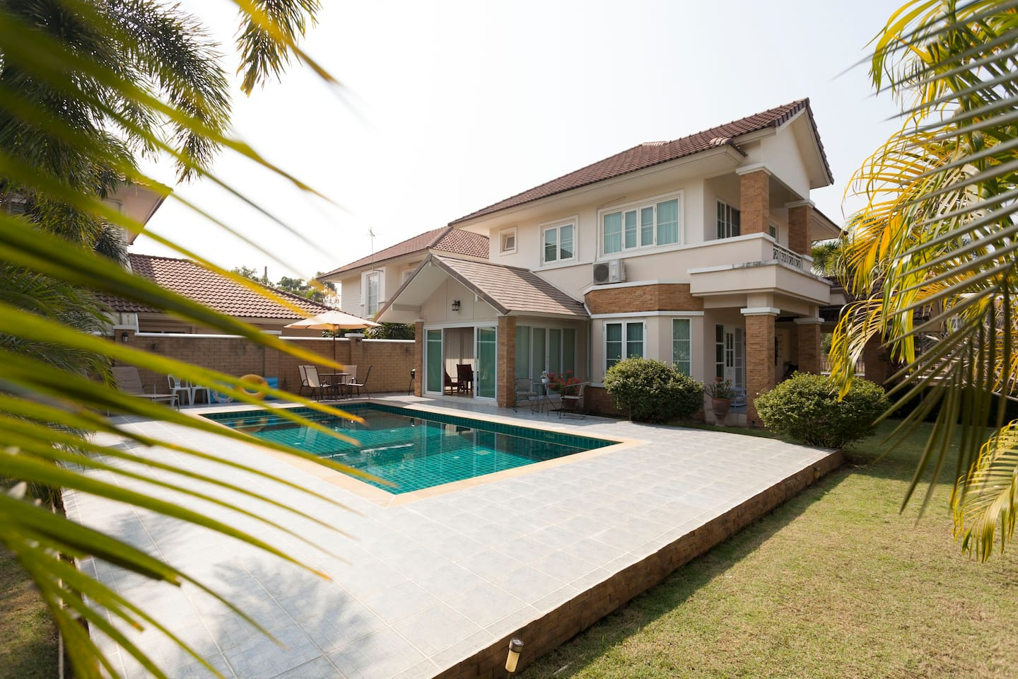 Corner view of our vacation villa with private  pool