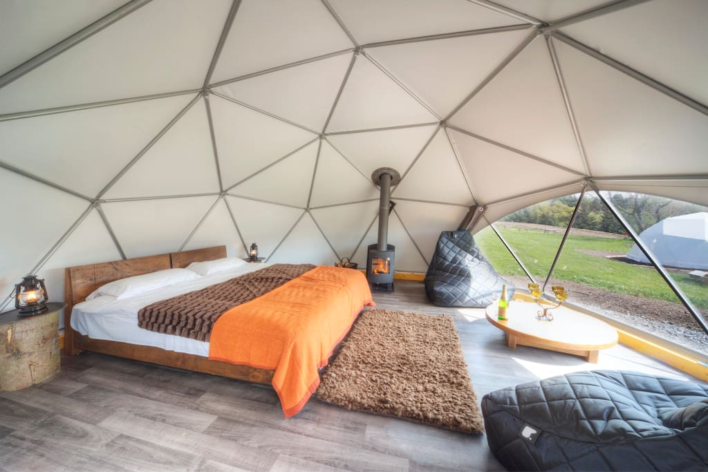 Inside of a Glamping Dome