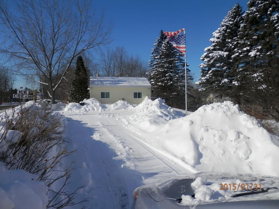 Well we certainly have snow for you at The Denmark Stage Stop House in our Bridgton Bungalow Cottage in Denmark Maine