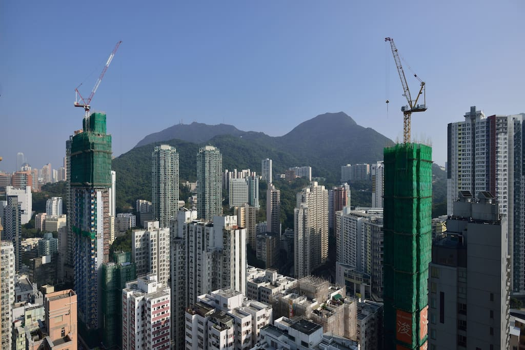 View from the 41st floor balcony with Victoria Peak in the background