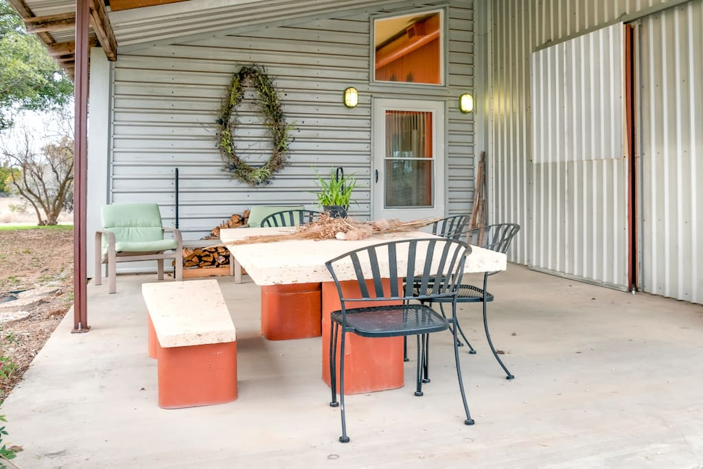 Outdoor seating, front patio