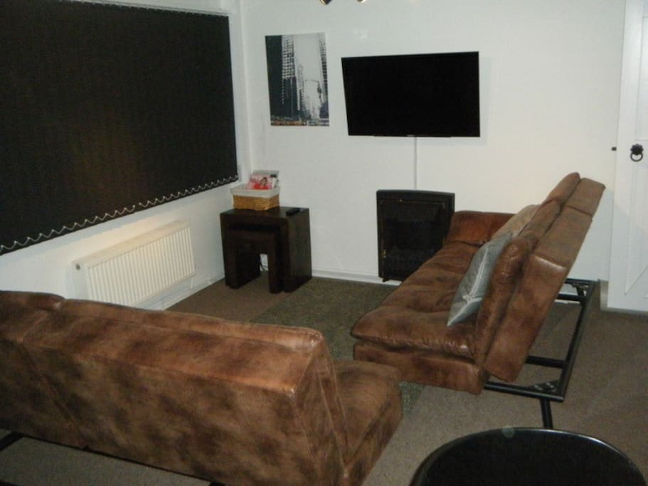 Lounge showing sofa beds, fire and TV