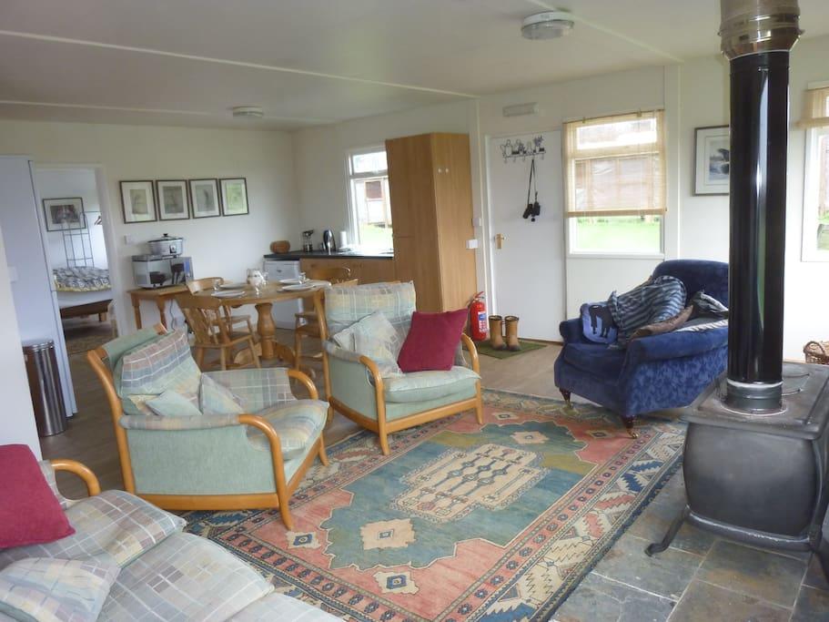 Comfortable lounge and log burner