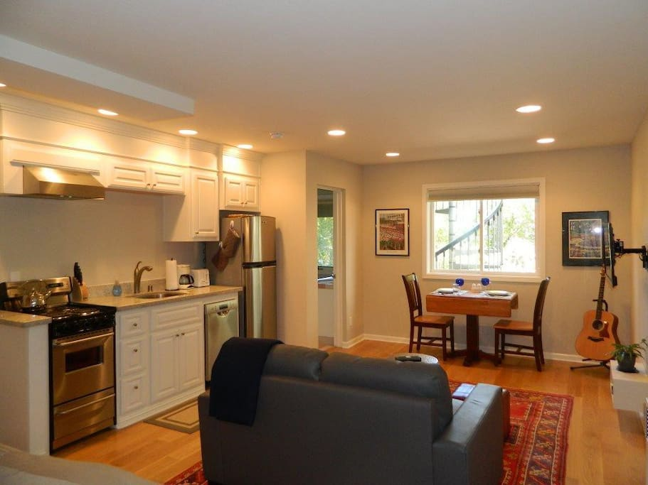 High end new kitchen, solid new comfortable furniture and electronic necessities to enhance your daily experience here in this quiet coastal retreat. Television is wall-mounted with swivel capabilities.