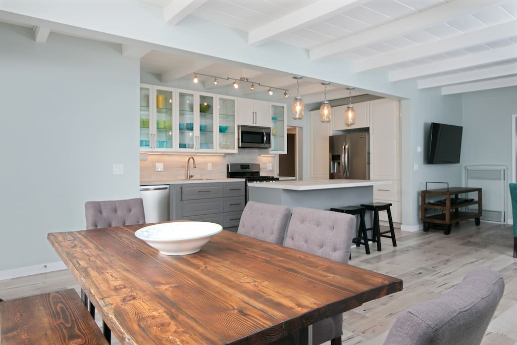 The open concept dining area