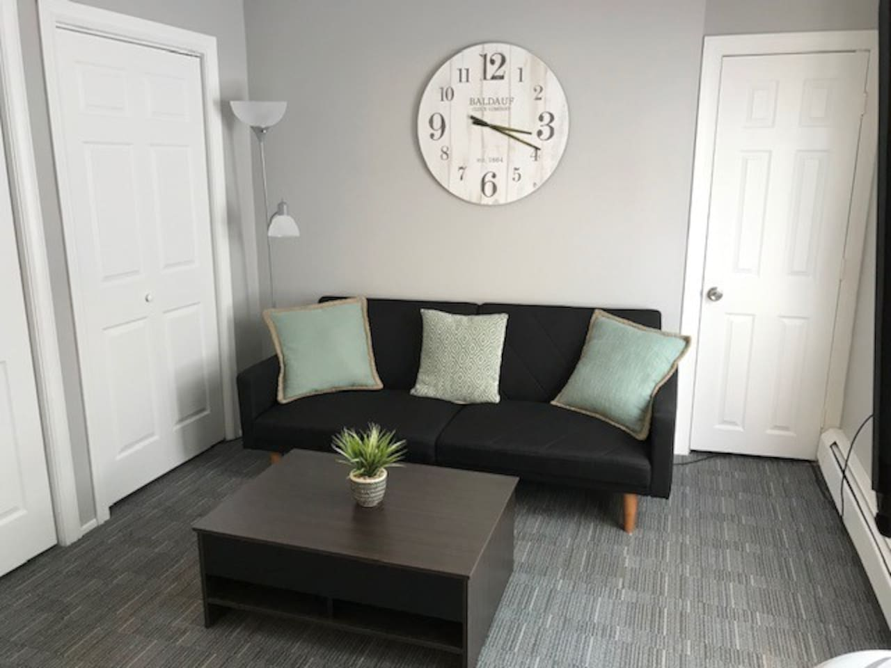 Living room with convertible sofa