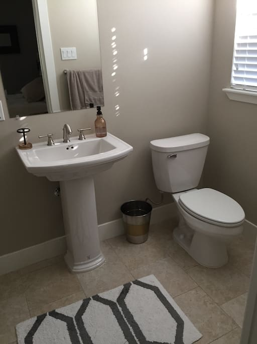Your private bath with toilet, sink, and huge shower