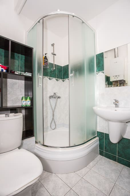 Shared shower and toilet room with all means provided