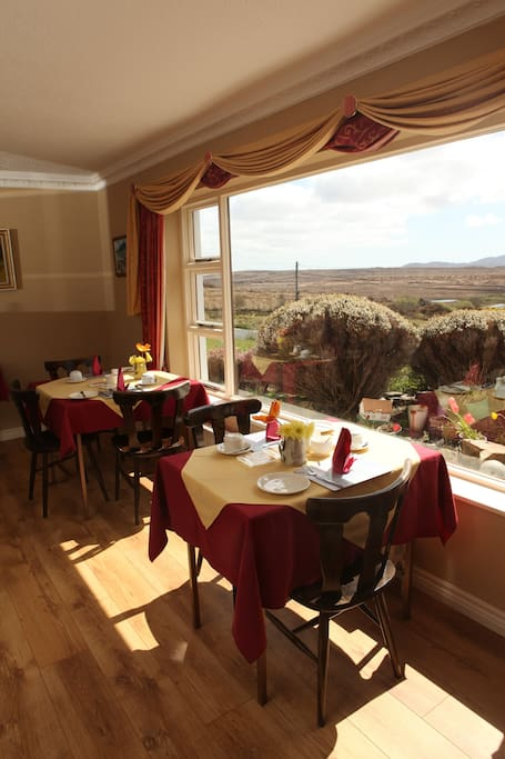 Views of the garden and Connemara scenery from the dining room