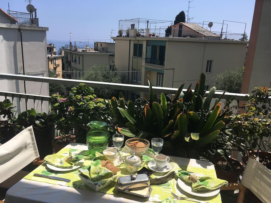 You can do your own breakfast on the balcony (living room) I offer the coffee &biscuits