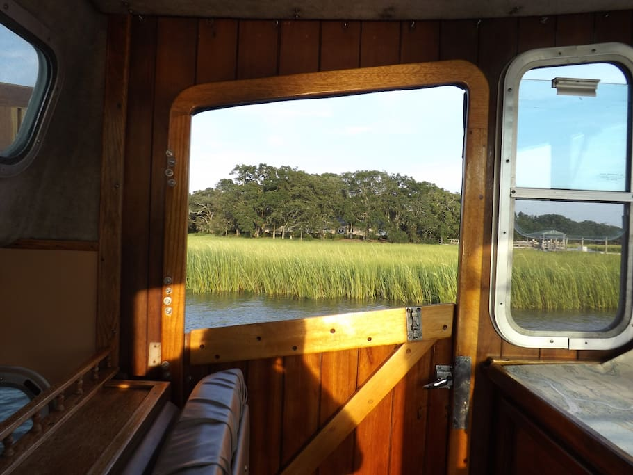 """Looking out on the marsh from """"Wild Hare"""" on a trip to the harbor"""