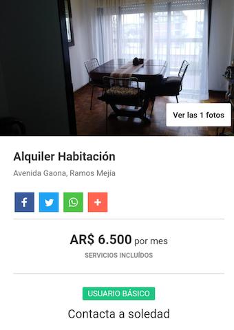 Alquiler de habitacion compartida.