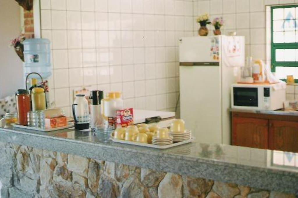 Vista do balcão da cozinha