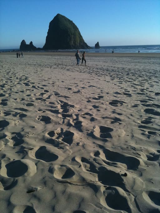 Haystack Rock from just within the beach access.