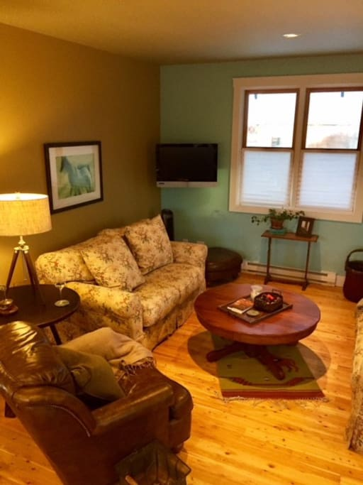 Cozy is overstuffed sofas and a comfy reading chair.  Flat screen TV in the corner  Enjoy!