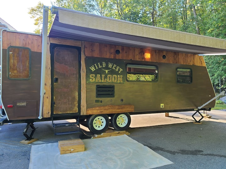 Unique Wild West Saloon camper on Lake Simcoe