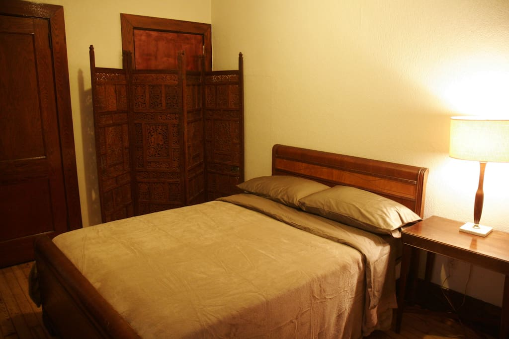 The room is a moderate size, but comfy for two. Double bed.