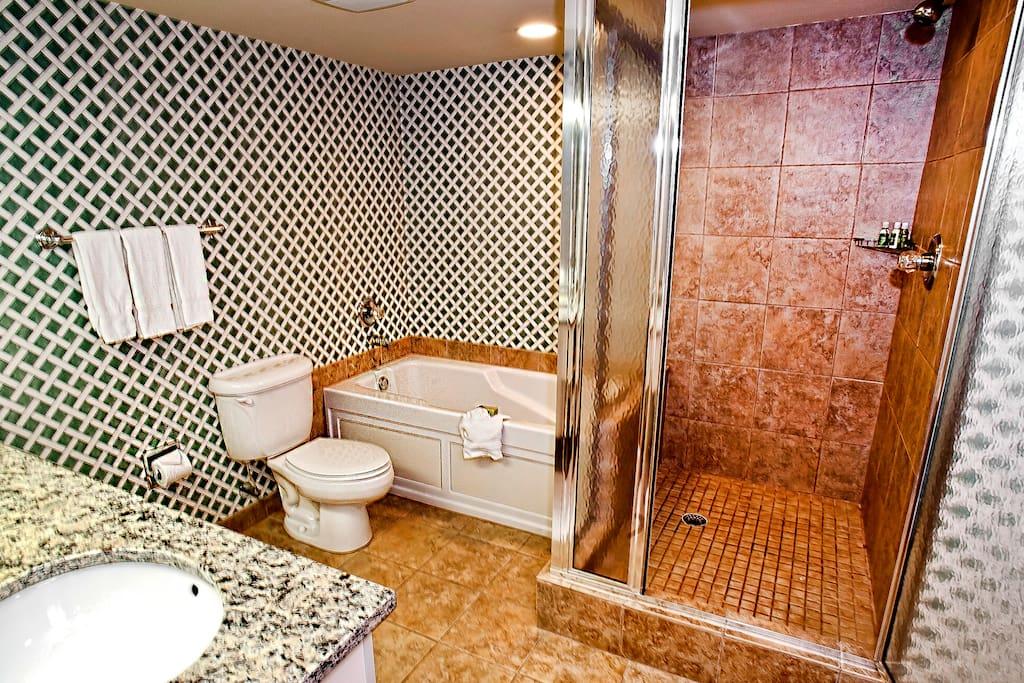 Upgraded bathroom with jacuzzi tub.