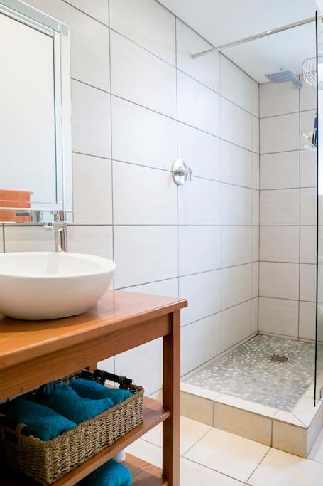 Modern bathroom with spacious shower.