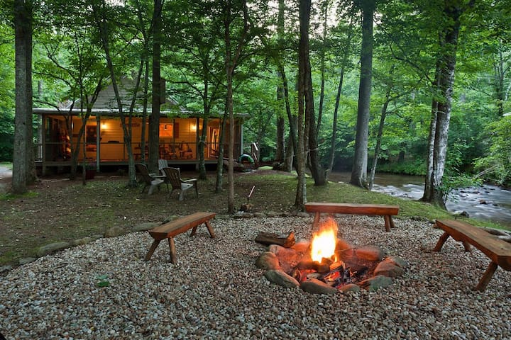 Laughing Waters, Sits on Fighting Town Creek with hot tub and firepit