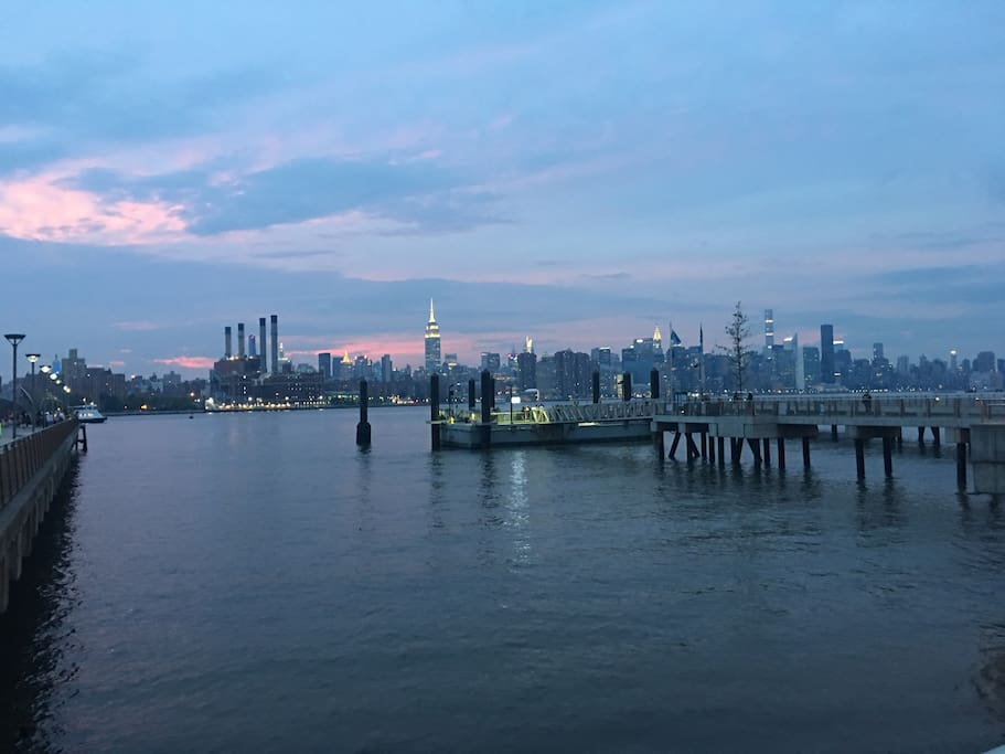 One block gorgeous sunset views of the Manhattan skyline. Hop on the East River Ferry and arrive at Wall St. or East 34th St within twenty minutes!