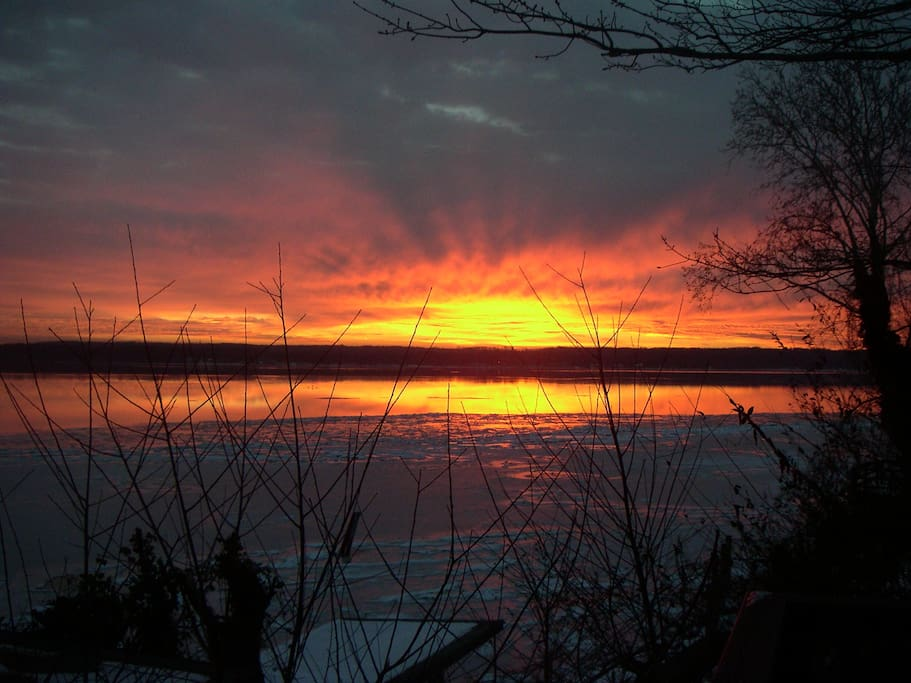 This is the morning sunrise over the frozen river taken from your patio!