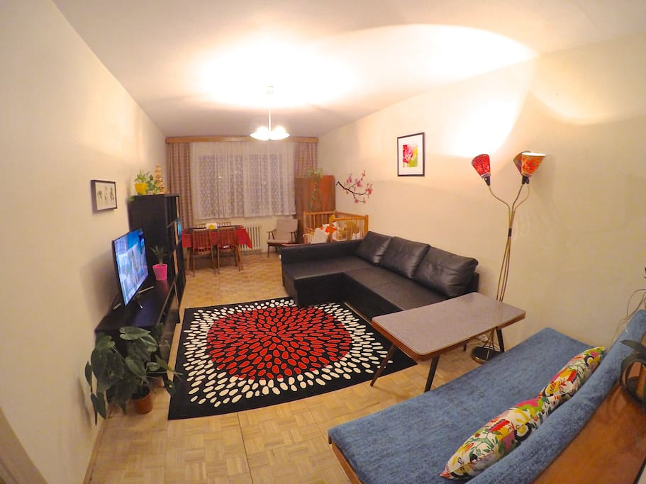 Lounge with double sofa bed, settee, smart TV, Blu-ray DVD player, fast Wi-Fi, dining table, baby cot.