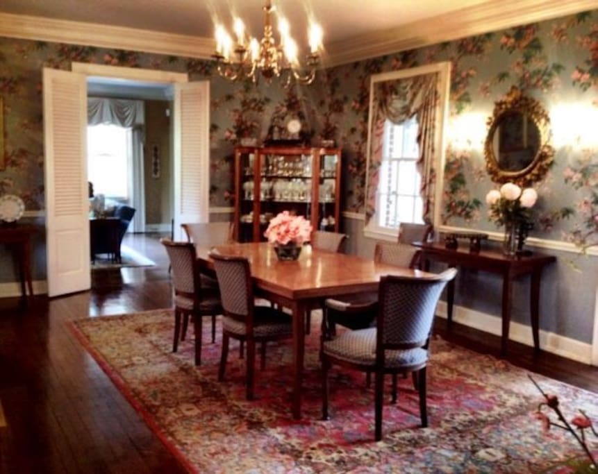 Large dining room table that seats eight people