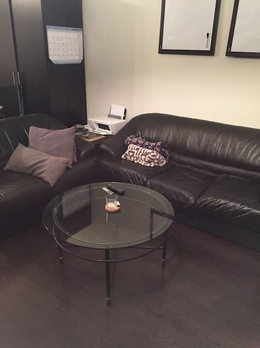 Cozy Couches w/Pillows and Blankets + Mini-Office