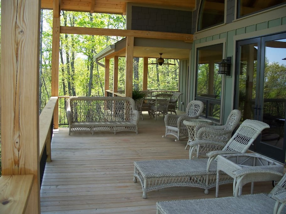 Covered Cypress Deck with Wicker Furniture