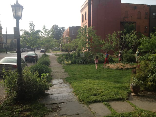 Game of tag in the courtyard