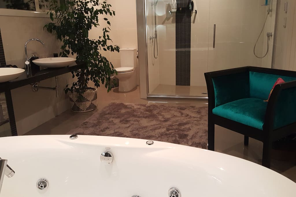 Lux 5m spa bathroom....double showers, twin vessel basins, spa bath.....all overlooking the city!