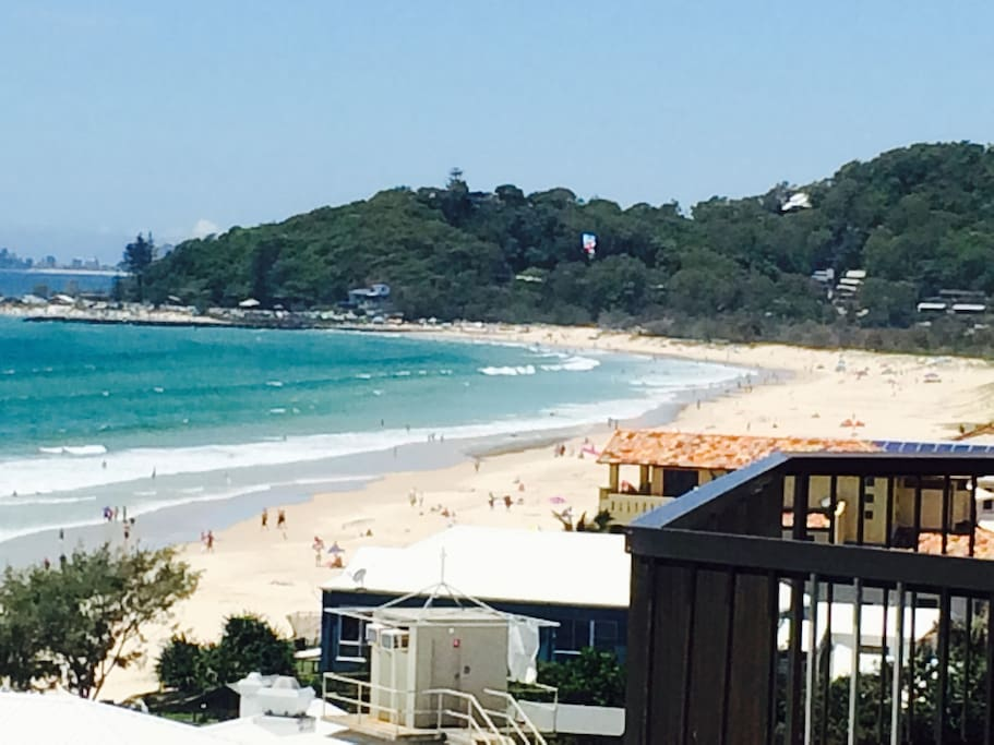 View from balcony south to Currumbin Beach over Palm Beach Surf Life Saving Club rooftop