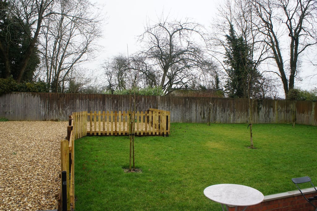 Garden and parking area