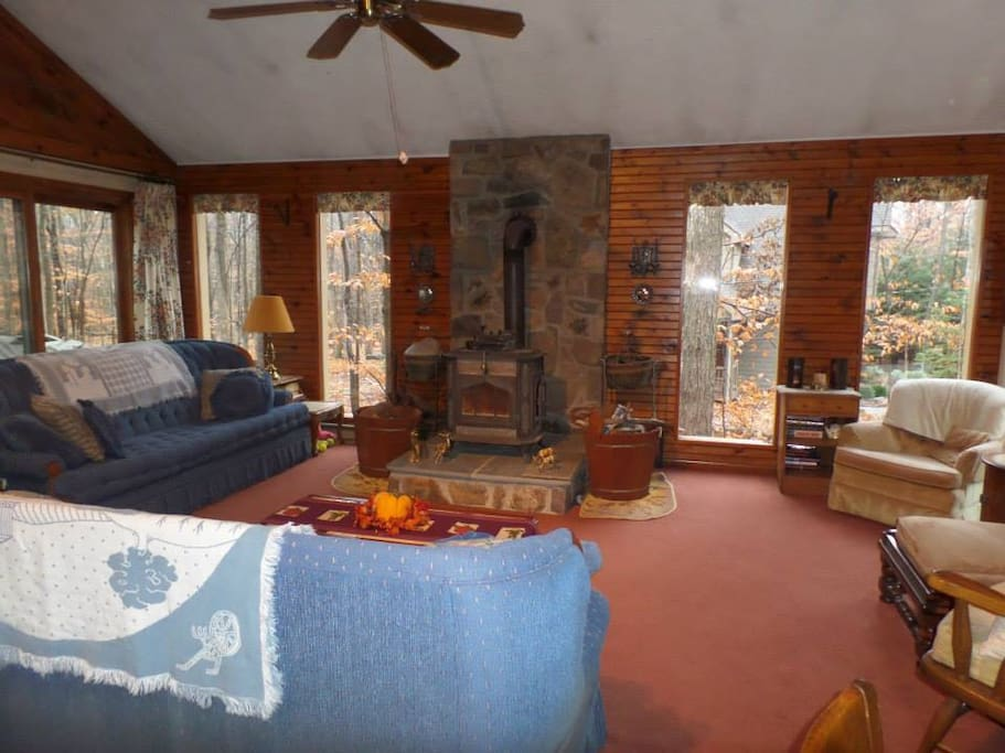 This is the family room with wood burning stove.  Has comfortable seating.