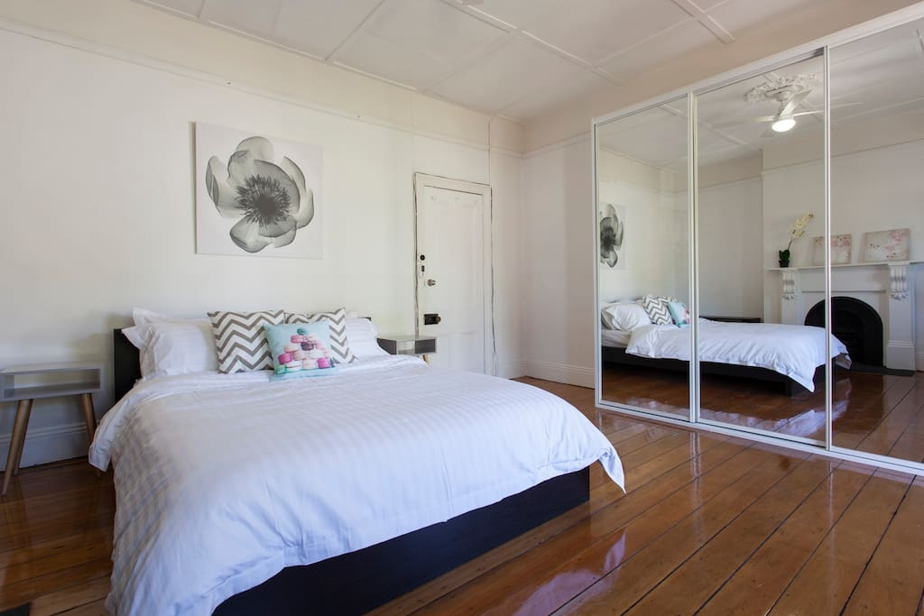 Your very own private bedroom with a mini lounge inside the room. With ceiling fan and light.