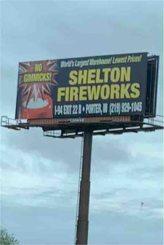 World's Largest Fireworks Warehouse only 2 miles away!  Tons of items to choose from!  Bottle rockets, flying saucers, smoke bombs, snakes, Roman candles, sparklers, firecrackers, fountains, large comets, aerial shells, etc.