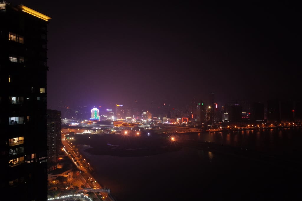 Night view from Balcony, facing Zhuhai , with night view and Sea view