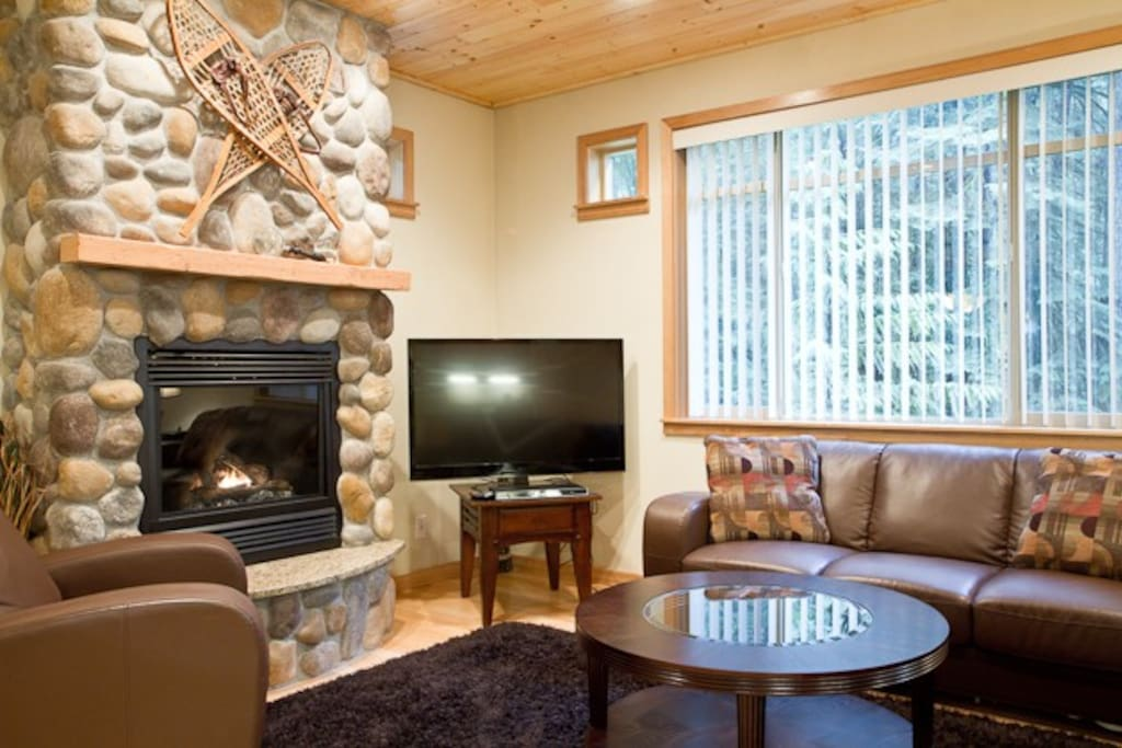 Rock Fireplace and flat screen TV