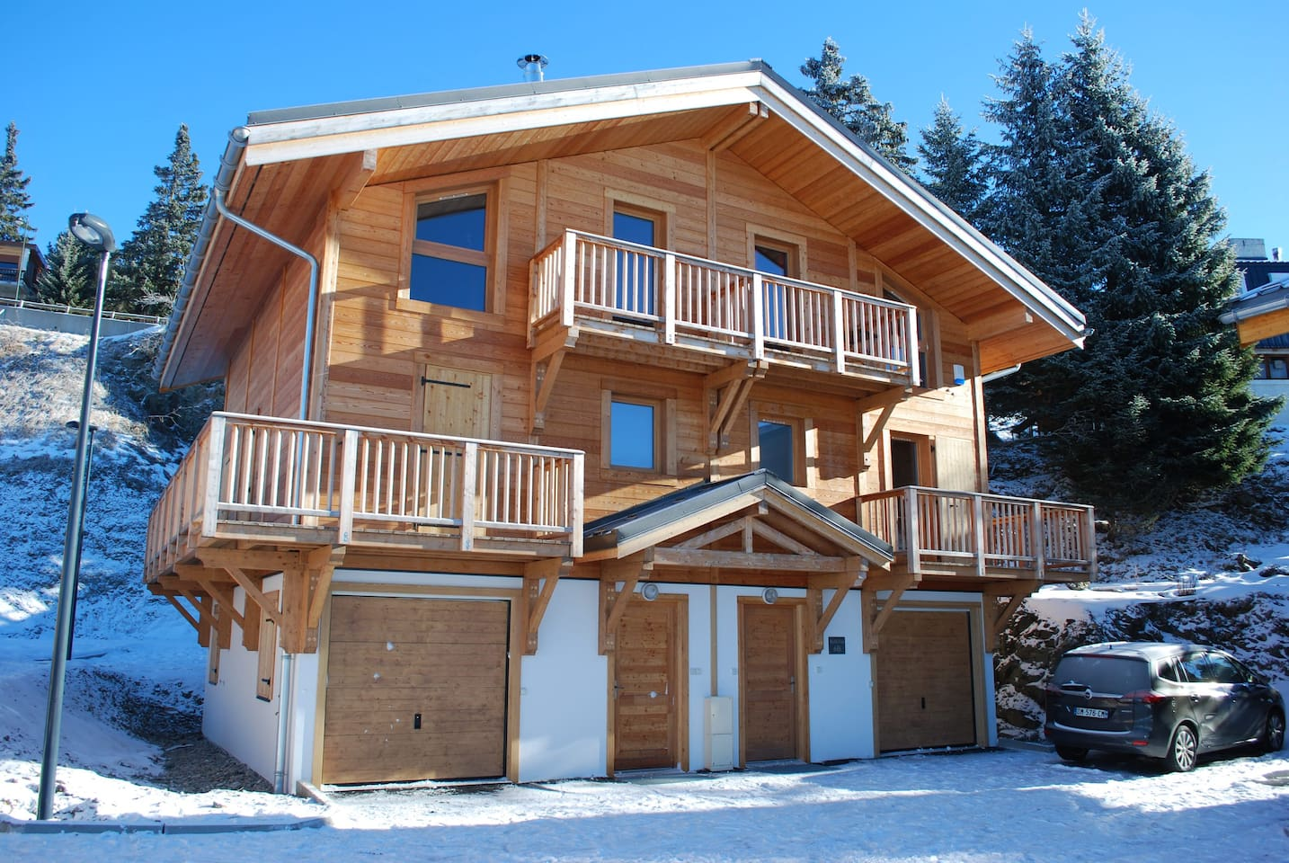 3 Storey chalet to right of picture