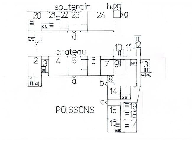 plattegrond  beds 180x200=1-12-13-16-17-20-21-21 beds 140x180=10-18-19 beds 120-180=9 cuisine=7 -25