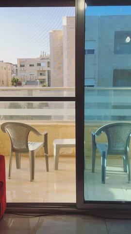 A spacious breezy balcony with a very nice view and Shisha on the house ;)
