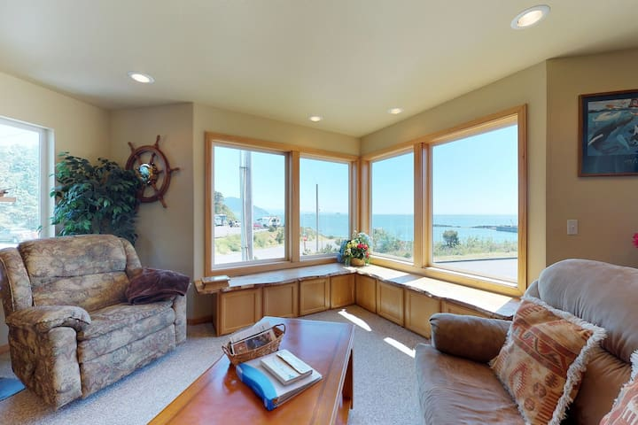 Ocean-view home with unbeatable in-town location, near port & beach access