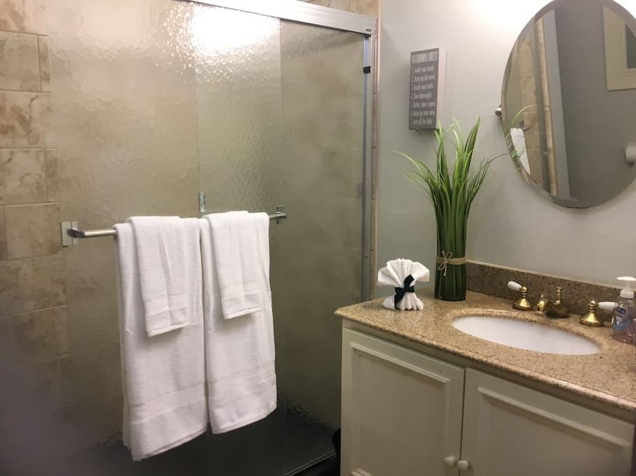 Large bath with amazing shower.