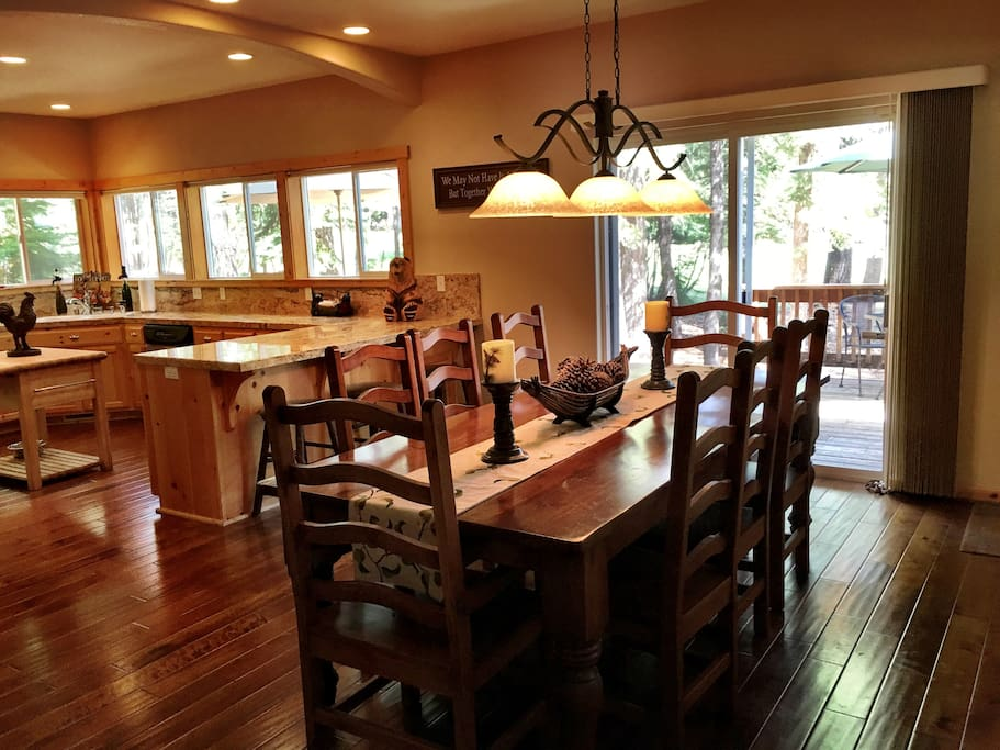 Dining table with door to large deck