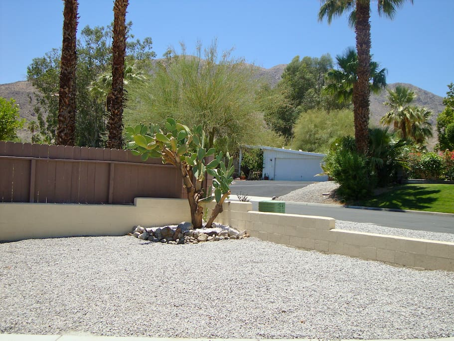 Beautiful desert landscaping and blue skies outside your door!