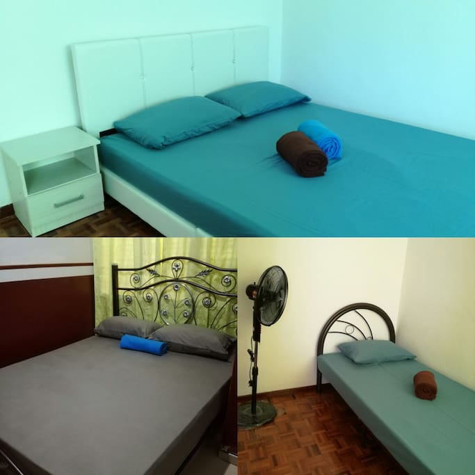 4 rooms - 2 queen size beds and 2 single beds