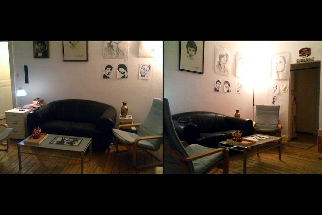 Le salon, arpenté de portraits, 2m50 de plafond.