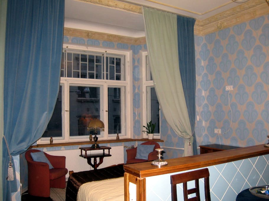 sitting area in the bay window